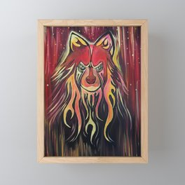 Fire Wolf Framed Mini Art Print