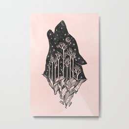 Adventure Wolf - Nature Mountains Wolves Howling Design Black on Pale Pink Metal Print