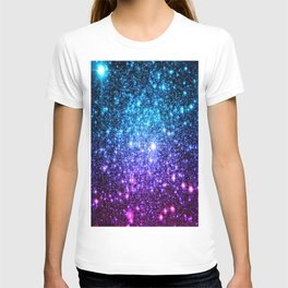 Glitter Galaxy Stars : Turquoise Blue Purple Hot Pink Ombre T-shirt