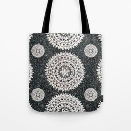 Black Glitter and Silver Mandala Textile Piece Tote Bag
