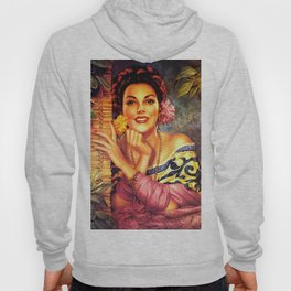 Jesus Helguera Painting of a Mexican Girl Beside Rattan Curtain Hoody