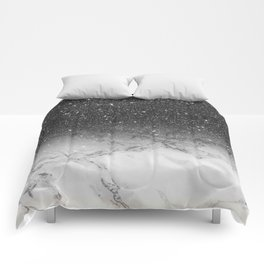 Stylish faux black glitter ombre white marble pattern Comforters