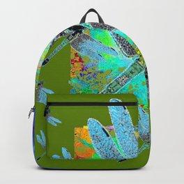BLUE DRAGONFLIES MORNING GLORY GREEN ART Backpack