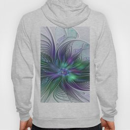Floral Energy Colorful Abstract Fractal Art Flower Hoody