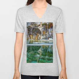 A Serene Chill - Hanging Lake Colorado Panorama Unisex V-Neck