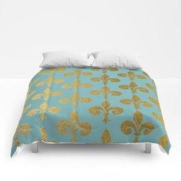 Aqua and Gold Fleur De Lis Comforters