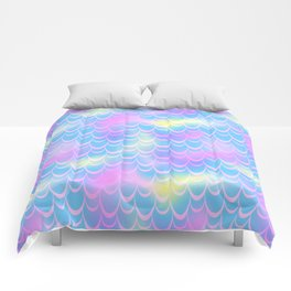 Blue and Pink Mermaid Tail Abstraction. Magic Fish Scale Pattern Comforters