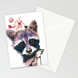 Blooming Raccoon Stationery Cards