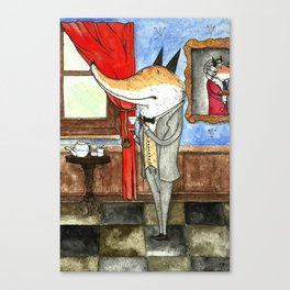 Fox enjoying a cup of tea Canvas Print