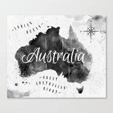 Black Australia Map Canvas Print