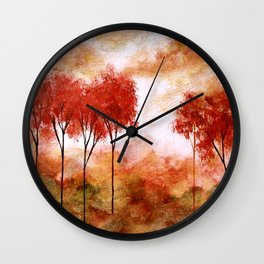 Burning Promise, Red Trees Landscape Art Wall Clock