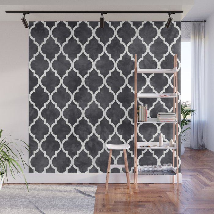 Classic Quatrefoil Lattice Pattern 421 Black and White Wall Mural