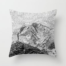 Child on the rock - Black ink Throw Pillow