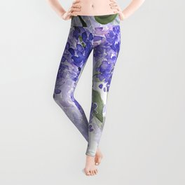 Purple Wisteria Flowers Leggings