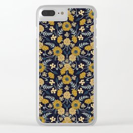 Navy Blue, Turquoise, Cream & Mustard Yellow Dark Floral Pattern Clear iPhone Case
