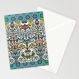 flower and birds in Persian blue mosaic Stationery Cards