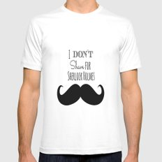 I don't shave for Sherlock Holmes MEDIUM White Mens Fitted Tee