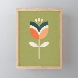 RETRO TULIP - ORANGE AND OLIVE GREEN Framed Mini Art Print