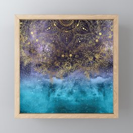 Gold floral mandala and confetti image Framed Mini Art Print