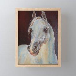 Arabian Horse portrait Gray horse head horse painting Framed Mini Art Print