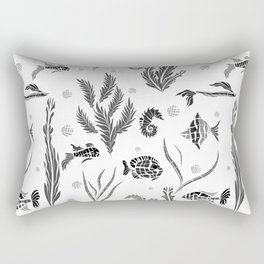 Black and white pattern. Fish . Rectangular Pillow