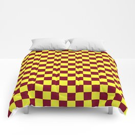 Electric Yellow and Burgundy Red Checkerboard Comforters