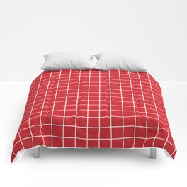 Fire engine red - red color -  White Lines Grid Pattern Comforters
