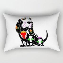 Basset Hound Sugar Skull Rectangular Pillow