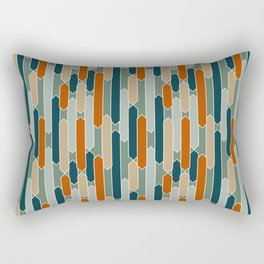 Modern Tabs in Dark Teal, Burnt Orange, Olive Rectangular Pillow