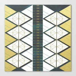 Modern Gold Aqua Geometric Pattern Canvas Print