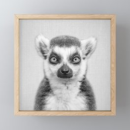 Lemur 2 - Black & White Framed Mini Art Print