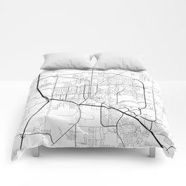 Denton Map, USA - Black and White Comforters