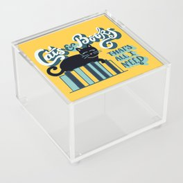Cats and Books: That's All I Need Quote Art - Blue, Turquoise, Yellow, White, Black Acrylic Box