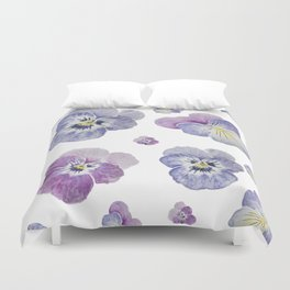 Watercolor Pansy Pattern Duvet Cover