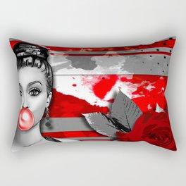 Trash Polka Retro Pinup Girl & Red Rose Rectangular Pillow