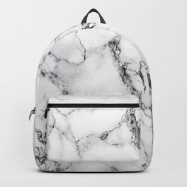 White Faux Marble Texture Backpack