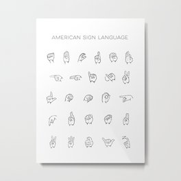 American Sign Language Chart Metal Print