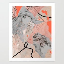 Earth and Fire: a collage print in black, white, and pink by Alyssa Hamilton Art  Art Print