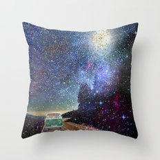 Stars Wander wolkswagen. Dreams. Green Throw Pillow