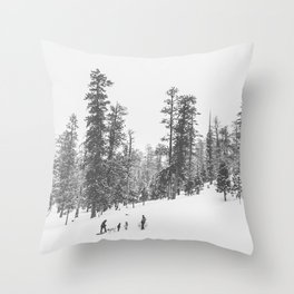 Sledding // Snowday Winter Sled Hill Black and White Landscape Photography Ski Vibes Throw Pillow