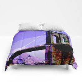 New York Brooklyn Bridge Travel Art Comforters