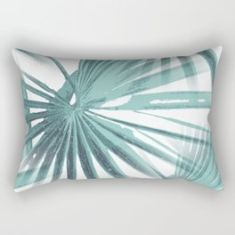 Teal Aqua Tropical Beach Palm Fan Vector Rectangular Pillow