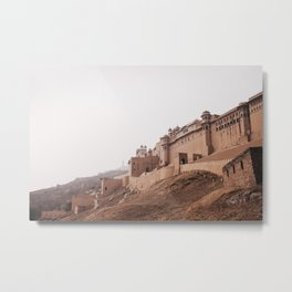 Landscape view of the Amber fort in Jaipur, India | Travel photo art print Metal Print
