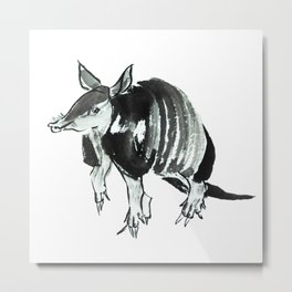 Nine-banded armadillo painted in traditional sumie technique Metal Print