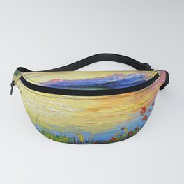 Flowers on the shore of the lake Fanny Pack