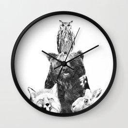 Black and White Woodland Animals Wall Clock