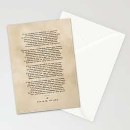 Rudyard Kipling, If - Typewriter Quote On Old Paper - Literary Poster - Book Lover Gifts Stationery Cards