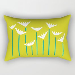 Chartreuse, Teal and White Tropical Plants Rectangular Pillow
