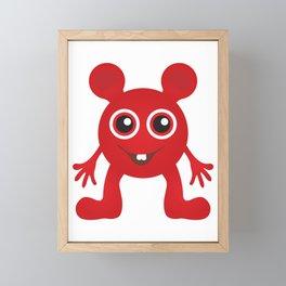 Red Smiley Man Framed Mini Art Print