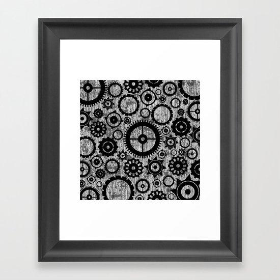 Grunge Cogs. Framed Art Print